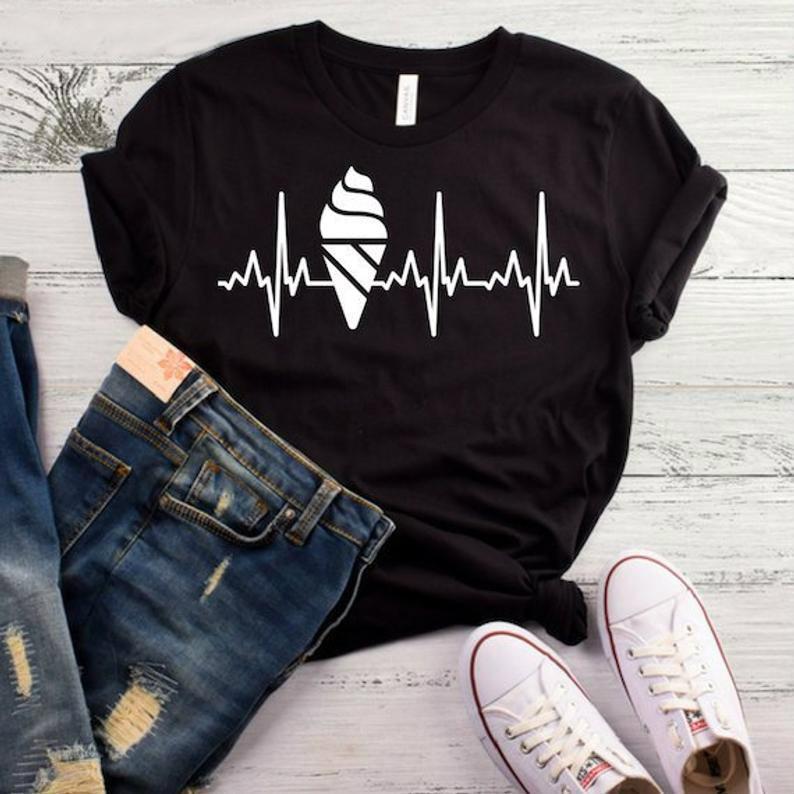 Ice Cream Heartbeat Print Women tshirt Cotton Casual Funny   t     shirt   For Lady Yong Girl Top Tee Higher Quality Drop Ship S-460