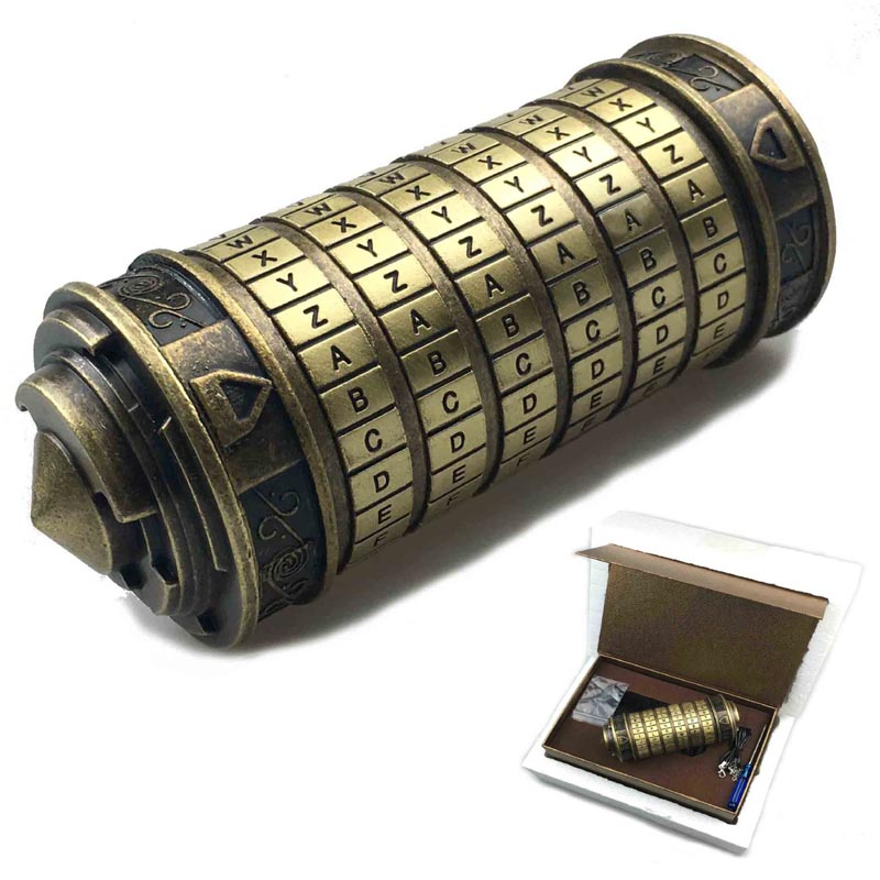 Leonardo Da Vinci Code  Toys Metal Cryptex Locks Wedding Gifts Valentine's Day Gift Letter Password Escape Chamber Props(China)