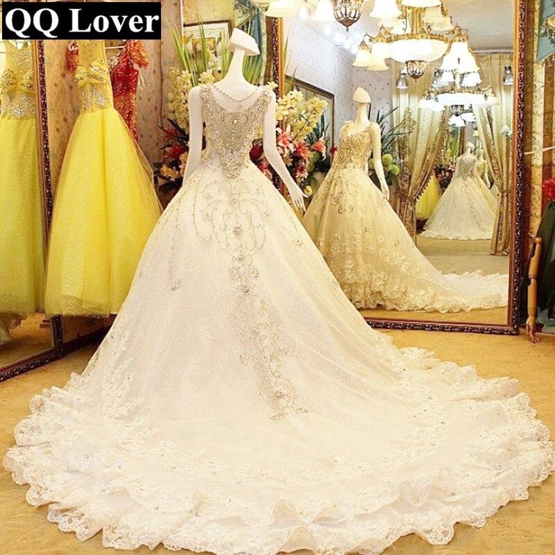 QQ Lover 2019 Super Luxury Crystals Beaded V-neck Big Train Wedding Dress Bridal Gown Vestido De Noiva U0072