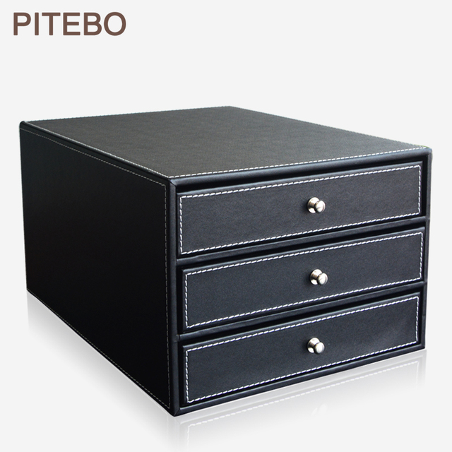 PITEBO Wood Leather 3 Drawer Office Desktop A4 File Cabinet Document Filing  Organizer Box Holder Container Black