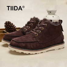 TIIDA Brand High Quality Men Snow Boots Fashion Men's Warm Winter Boots Genuine Leather Boots Natural Fur Men Ankle Boots