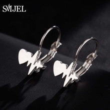 SMJEL Stainless Steel Wave Heartbeat Hoop Earrings ECG Induction Medical Jewelry for Nurse Doctor Women pendientes aro