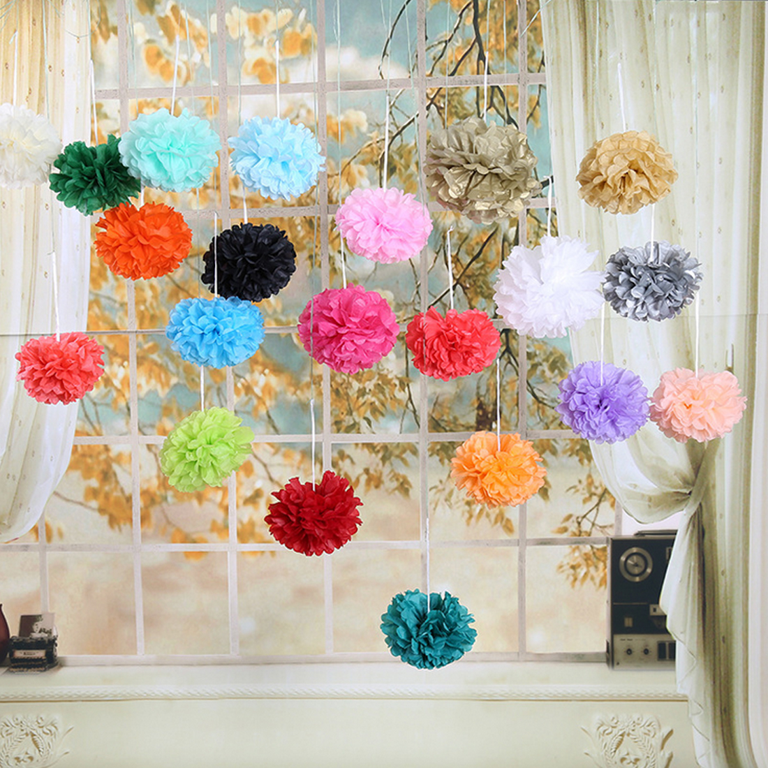 Us 1 04 5 Off 1pc Pompon Tissue Paper Pom Poms Flower Balls For Wedding Room Decoration Party Supplies Diy Craft Paper Flower In Artificial Dried