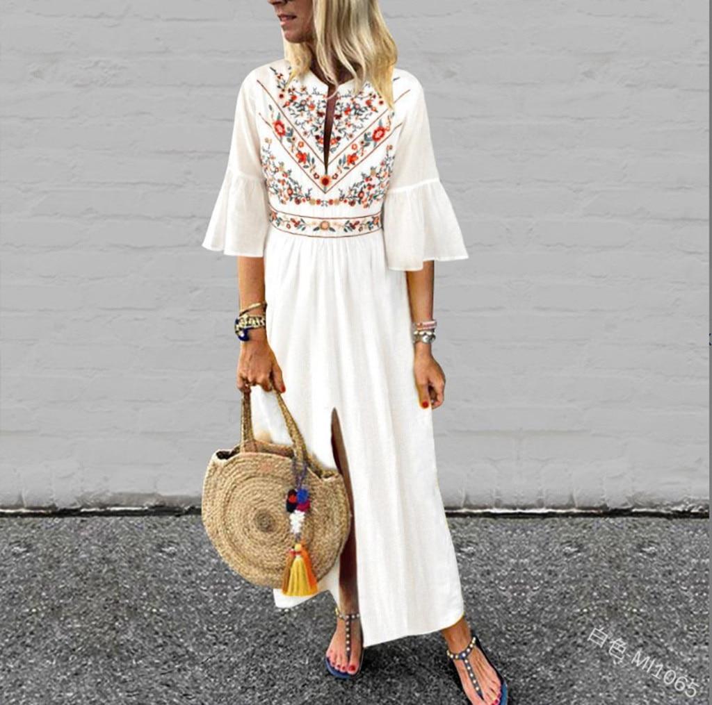 New Dress Women's Vintage Short Flare Sleeve Printed Split Hem Maxi Dress Kaftan Dress relogio feminino