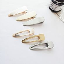 1 PC Retro Brushed Matte Metal Hairpins Hair Clips Girls Simple Wild Smooth Hollow Hairclip Barrettes Headwear Hair Accessories