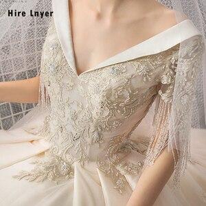 Image 5 - Женское свадебное платье, бальное платье с v образным вырезом, украшенное бусинами и блестками, с золотистой аппликацией, 2020