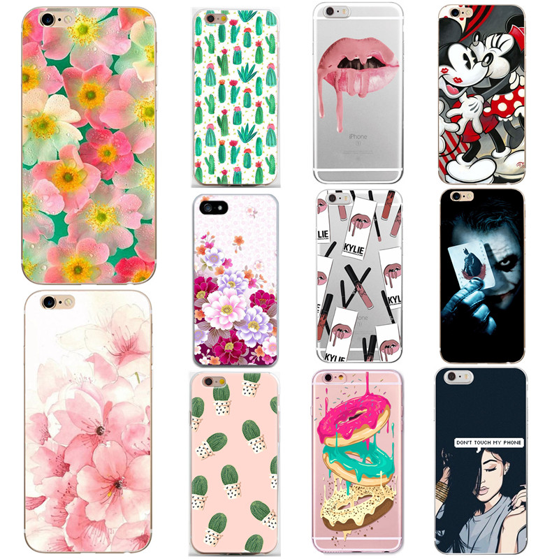 Soft Silicone Tpu Back Cover Case For Iphone 6 S 6S 7 8 Plus 5 5S X Beauty Flower Phone  ...