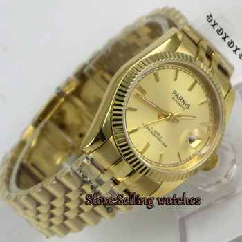 Luxury 36mm Parnis yellow gold dial Date Miyota automatic mens watch - DISCOUNT ITEM  27 OFF Watches