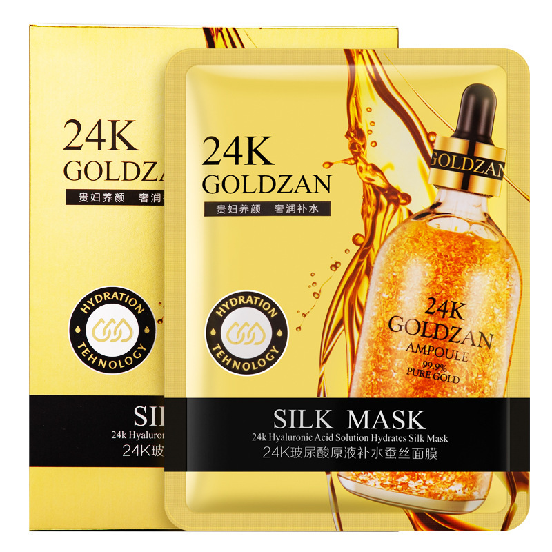 24K Gold Hyaluronic Acid Silk Facial Mask Moisturizing Hydrating Skin Care Oil Control Shrink Pore Anti Aging Anti Wrinkle Korea