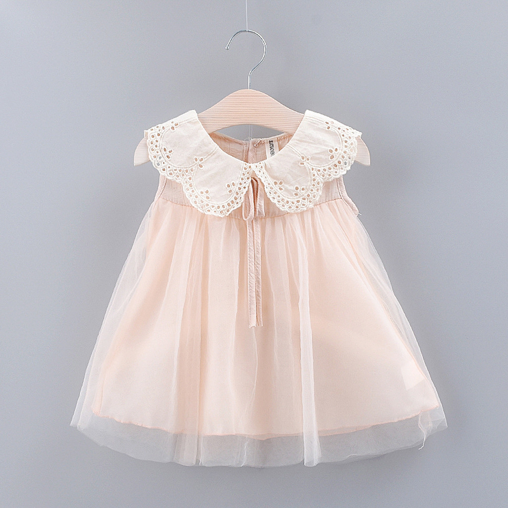 Toddler Kid Baby Girl Solid Bow Lace Tulle Party Princess Dress Clothing  Dresses Cotton Newborn Costume