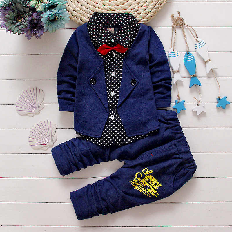 3ef280256 ... 2019 Baby Boys Casual Clothing Sets Kids Boys Button Letter Bow Suit  Sets Children jacket + ...