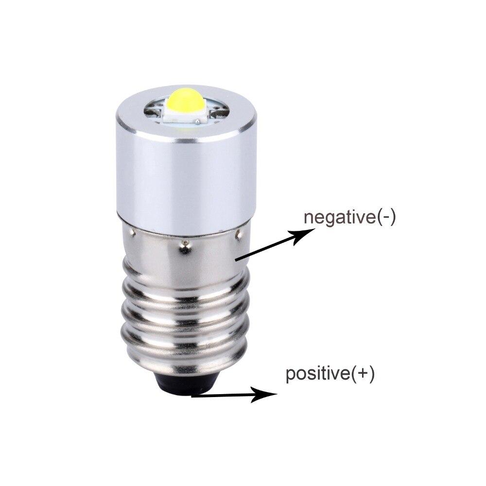 1x White E10 COB 1W Fit 3v 4.5v 6v 7V 9v 12v 15v For led flashlight bulbs torch