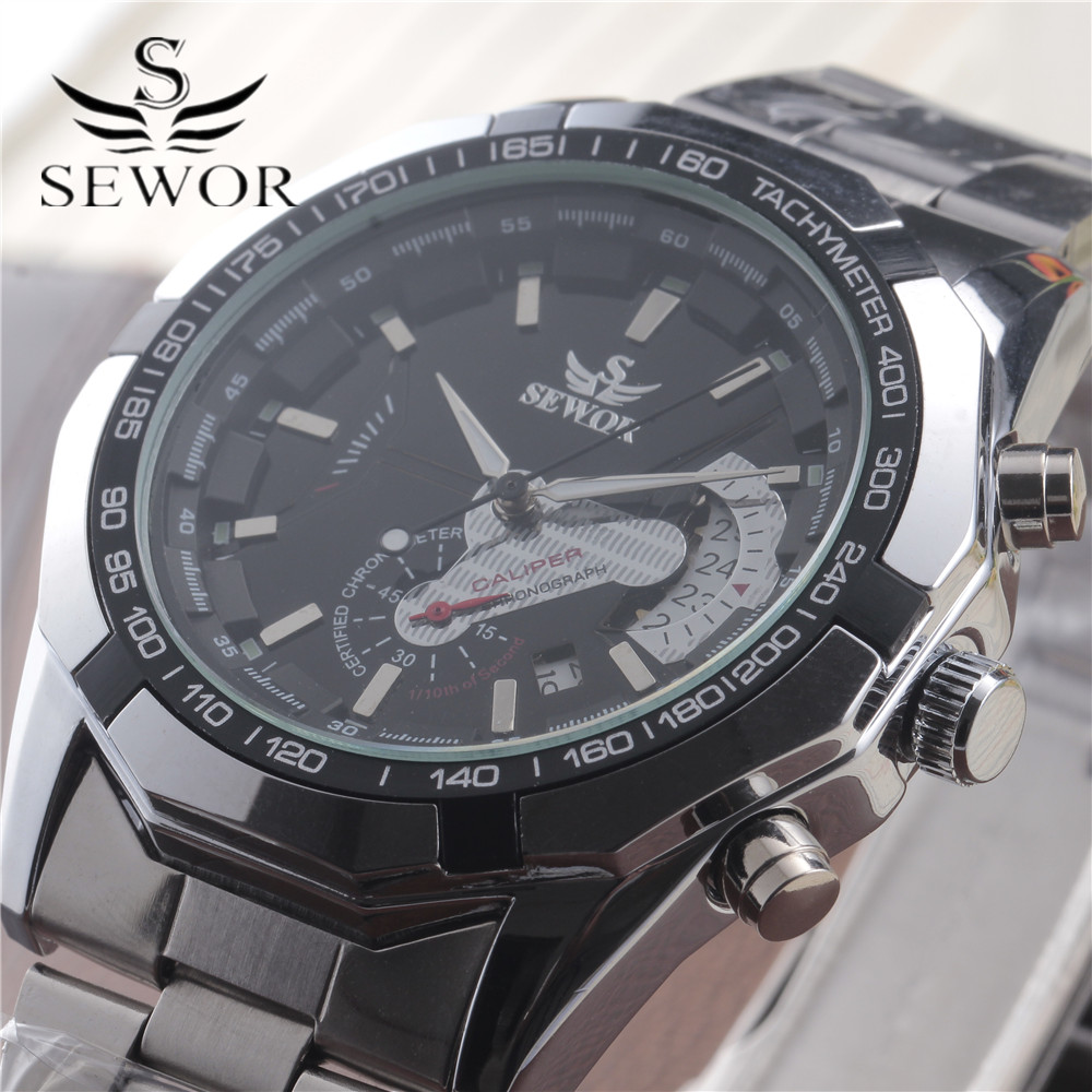 2016 SEWOR Black Luxury Brand Automatic Mechanical Watch Stainless Steel Men's Military Sport Clock Male Wrist Watches For Men sewor new arrival luxury brand men watches men s casual automatic mechanical watches diamonds hour stainless steel sports watch