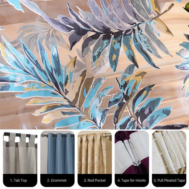 Topfinel Foglie Tropicali Ricamato Tende Trasparenti per Soggiorno camera Da Letto A Buon Mercato Organza Tende di Tulle per Complementi Arredo per le finestre