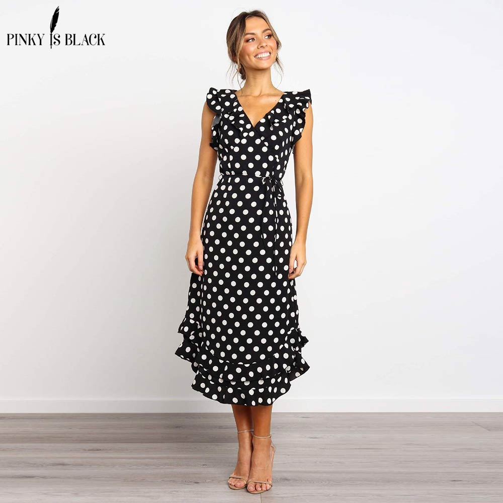 Светолечение... летние женские длинное платье черный, белый цвет в горошек пляжное платье Для женщин Вечеринка платье оборками сарафан миди ...