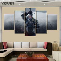 5 Piecesset Printed Witcher 3 Wild Hunt Canvas Painting Room Decoration Print Poster Picture Printed Painting