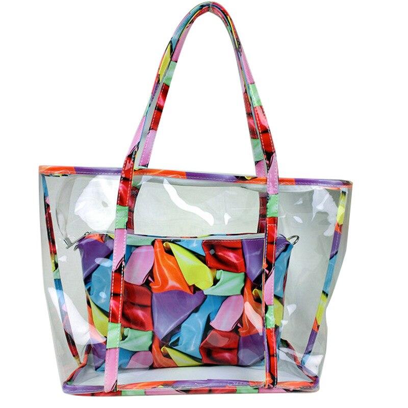 Brand design New Floral Print Women Transparent PVC Handbag Female Casual Summer Beach Shoulder Bags Ladies Large Shopping Tote