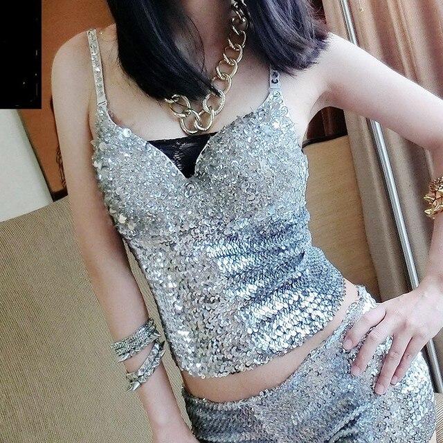 sequined tank tops sexy halter crop top bling dancer costume in PUB bustier camisetas de tirantes mujer spaghetti top women