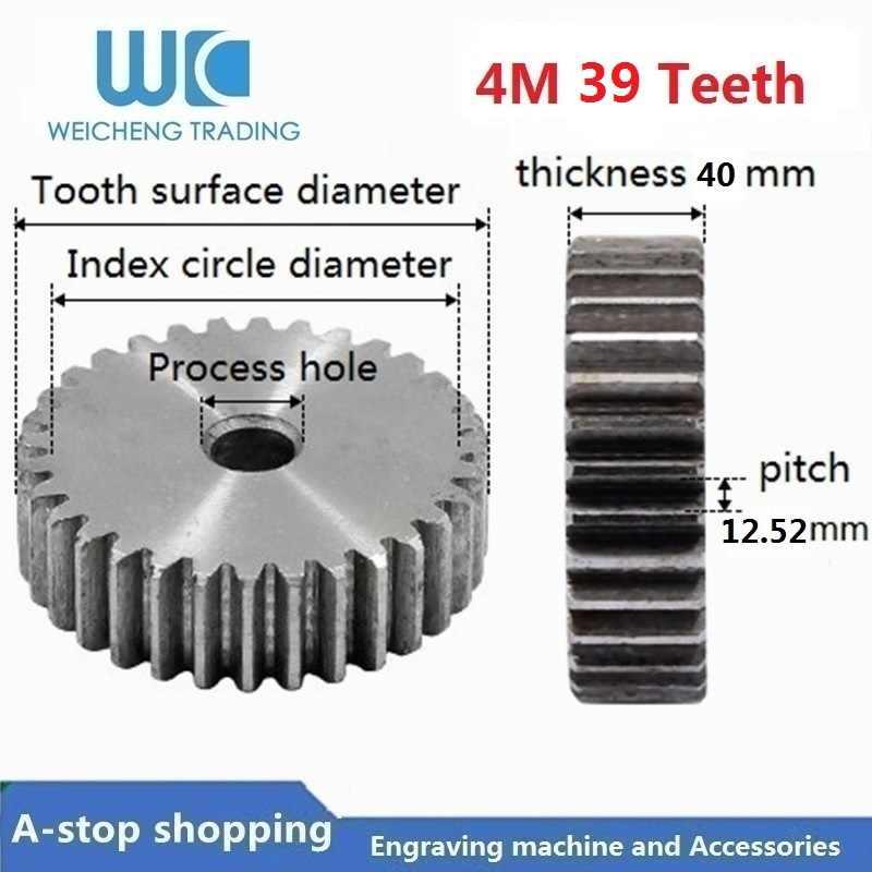 4M 39 Teeth Mod 4 M CNC Spur Gear pinion 39T 39Teeth Right Teeth positive gear 45# steel gear rack transmission