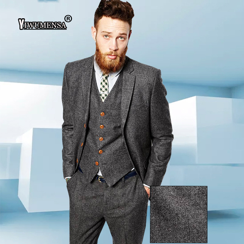 yiwumensa New Latest Coat Pant Designs Mens Suits Tweed Herringbone Wedding Suits For Men Tuxedo Suits Grey/Brown Suit men 2017