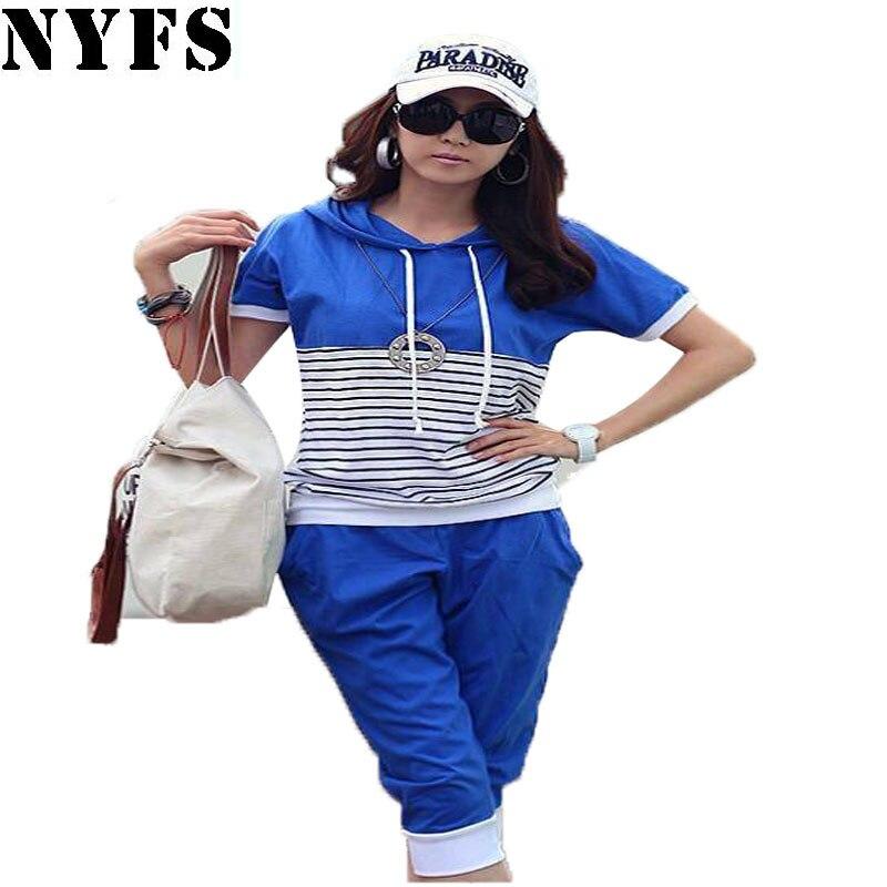 NYFS offre Spéciale! 2018 D'été Femmes Costume bande à manches courtes 2 pièce ensemble femmes pantalon et top Casual femmes vêtements ensemble