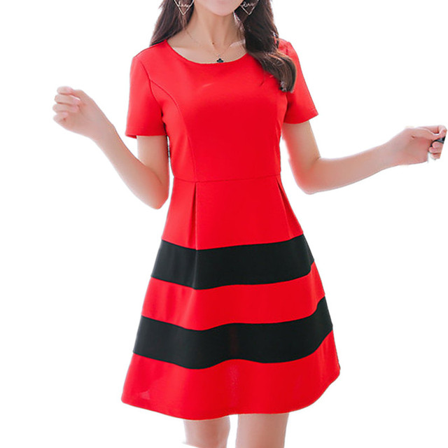 e0abc4fcea816 2018 verano mujeres nuevas moda vestido rojo casual manga corta o cuello  elegante femenino a-