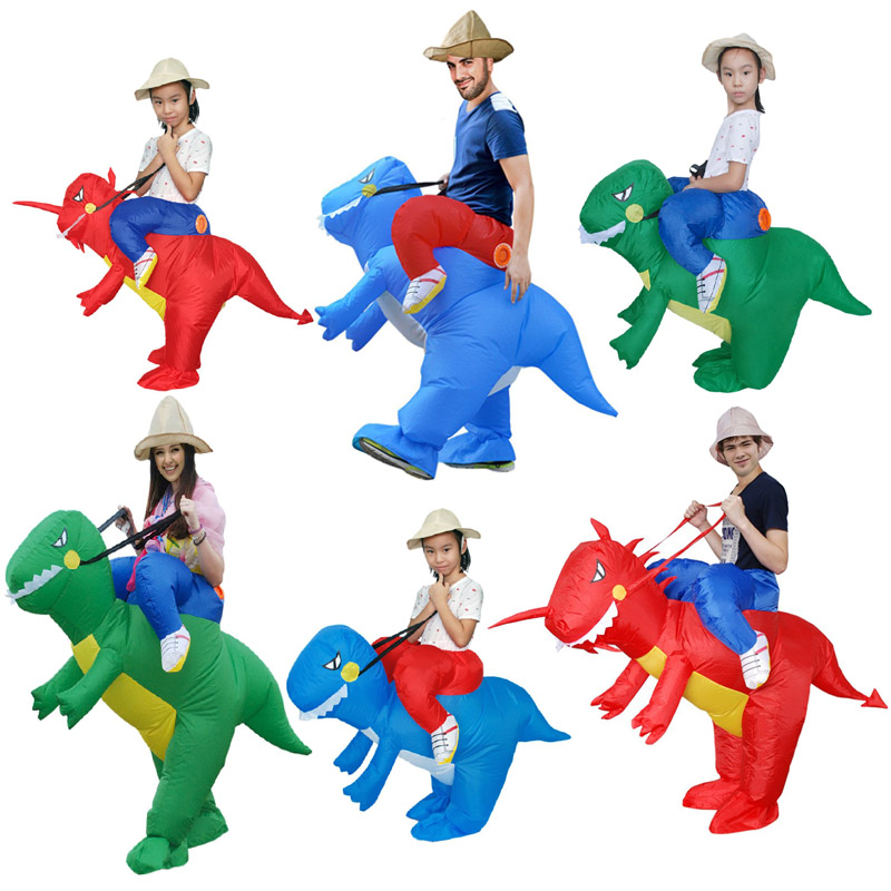 Tyrannosaurus Rex Inflatable Costume Party Adult Kids Dinosaur Halloween Costume Love Live Cosplay Mascot Costume Jurassic in Anime Costumes from Novelty Special Use