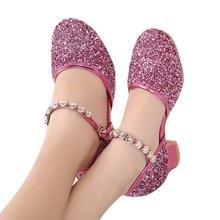 Летняя обувь для девочек; блестящая детская обувь для девочек; стразы для бальных танцев; обувь для латинских танцев и Танго; обувь на каблуке; sandale fille9.506gg