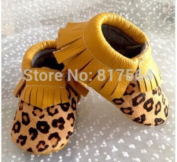 New style horsehair leopard baby fringe moccasins genuine leather prewalker toddlers/infants cow leather shoes 8pairs/lot