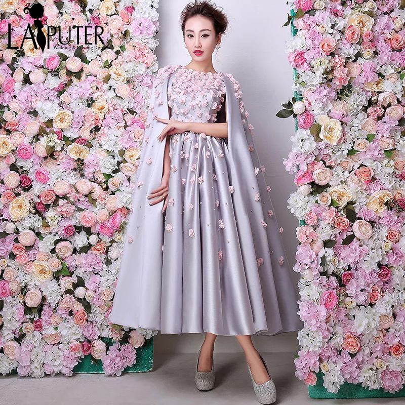 be8df5bc5ff9c Arabic Vintage Silver 3D Flowers Prom Dresses Robe De Soiree Courte 2016  Formal Party Gowns Ankle Length With Shawl