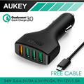 AUKEY 4 Ports QC 3.0 USB Mini Quick Charger Fast Car Charger Adapter for Car for iPhone 7 6, Samsung Galaxy S6 5 Edge Note,LG G5