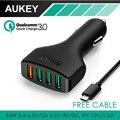 Qc aukey 4 portas usb 3.0 mini adaptador para carro carregador para carro carregador rápido rápido para iphone 7 6, samsung galaxy s6 5 edge nota, lg g5