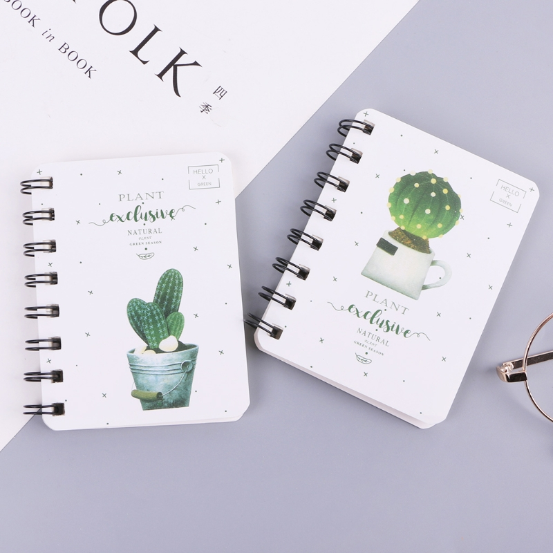 Cute Cactus Daily Office Supplies Planner Spiral Notebook Diary Notepad