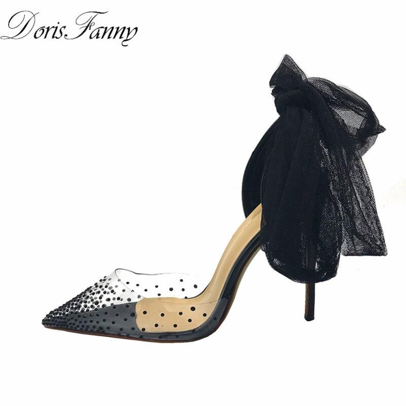 Doris Fanny/брендовые босоножки на ремешках; прозрачные женские босоножки из ПВХ на каблуке с кристаллами; Летняя обувь - 2