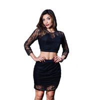 Woman Sexy Nightclub Lace Hollow Lacquered Long Sleeve Dress 2017 Summer Female Crop Top Two Piece