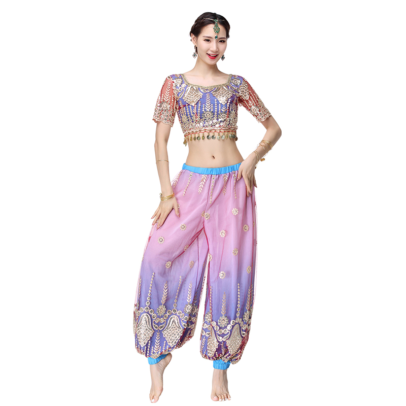 Women Belly dance Bollywood Indian Arabic Themed Full Dance Costumes Outfit 2 PCS Top Pants
