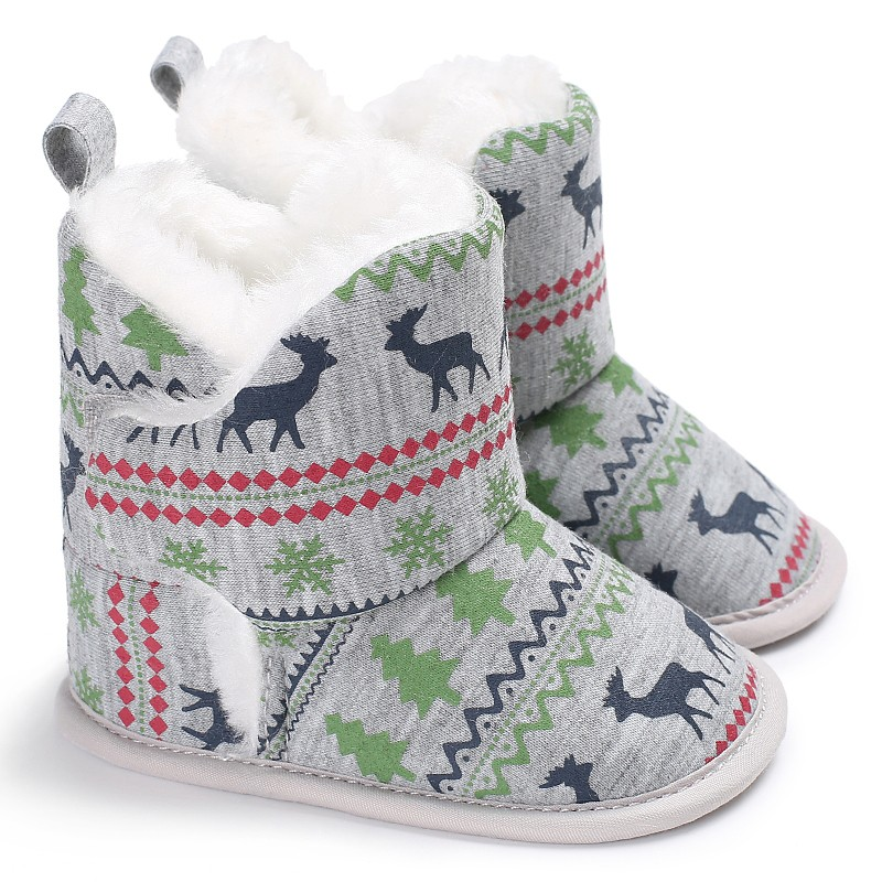 2017 Fashion Winter Warm Fleece Soft Soled Crib Shoes Christmas Style Girl Toddlers Snow Boots Sneakers J2