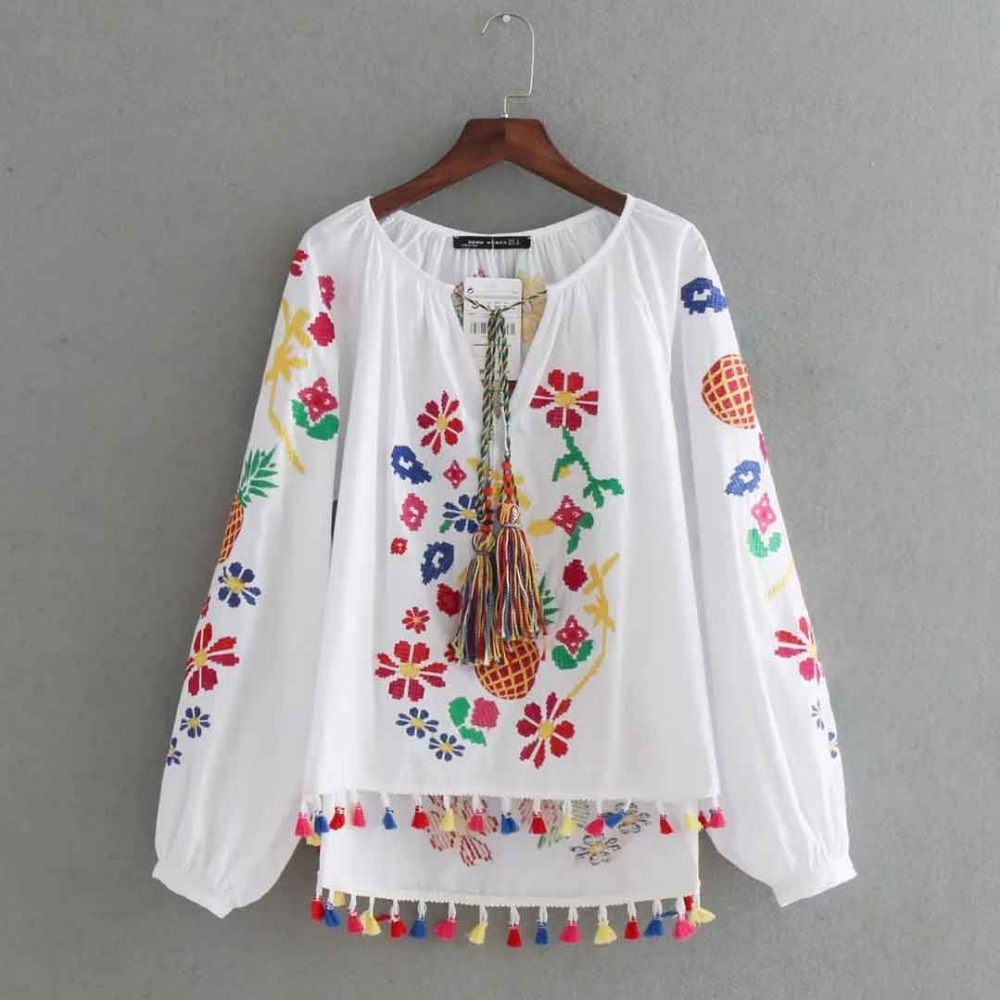 Vintage Embroidery   Shirts   Women Tunic Summer Clothing Loose Long Sleeve Lace-up Fringes White Cotton Ethnic   Blouse     Shirt   Blusas