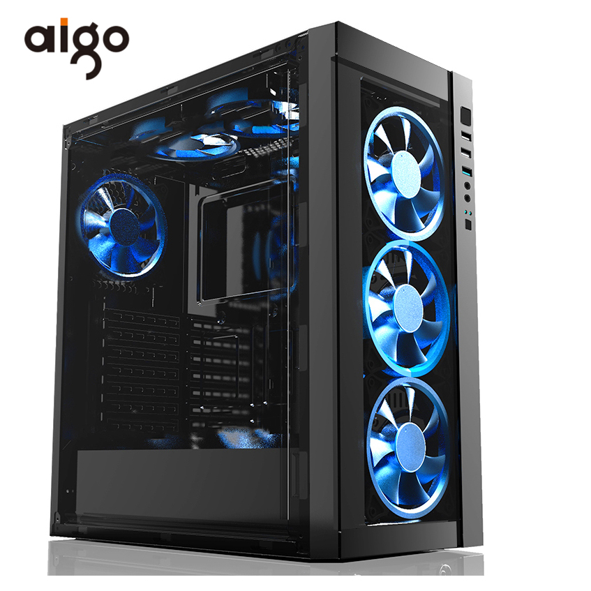 Aigo Atx Computer Chassis Case 404*205*455mm Desktop Pc Computer Case 1080 GPU Computer Case Support Water Cooler Case for Pc new 4u industrial computer case parkson 4u server computer case huntkey baisheng s400 4u standard computer case