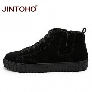Image 3 - JINTOHO zapatos de invierno para hombre, botas de nieve de cuero marrón casuales, botas de invierno baratas