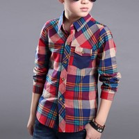 Spring Autumn Long Sleeve Boy's Shirts Casual Korean Turn down Collar Blouses for Children Kids Clothes Baby Boy Plaid Shirt