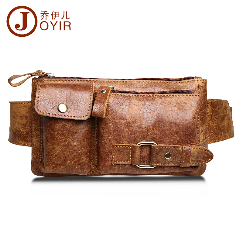JOYIR Genuine Leather Waist Bag Bumbag Unisex Fashion Belt Bags Male Fanny Pack Small Waist Pack Man Crossbody Shoulder Bag 8135