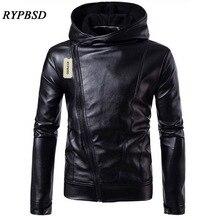Mens Leather Jacket Black Faux Leather Jacket Hooded Zipper Men Coat 4XL Long Sleeve Turtleneck Leather Jackets Man 2019 New