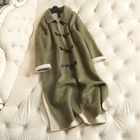 Brand Long Womens Wool Coat Cashmere Solid Horn Button Wide waisted Drop shoulder Abrigos Mujer Invierno 2018 Female Overcoat