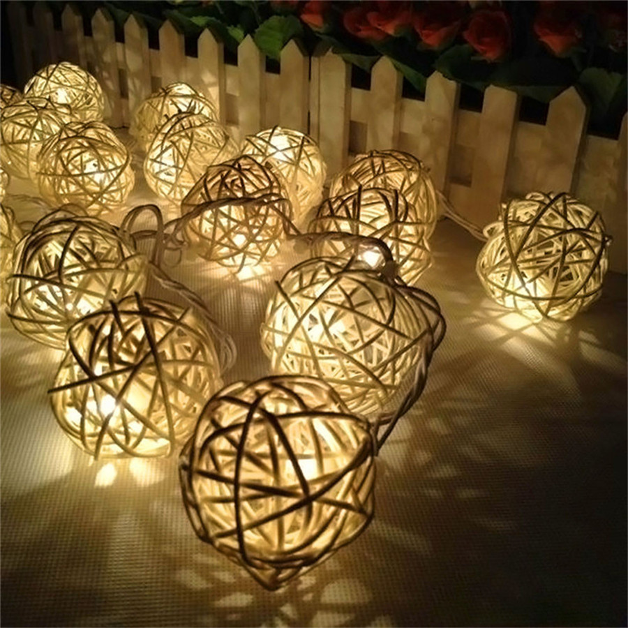 Coversage Battery Rattan Ball String Fairy Lights Curtain Led ...