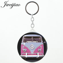 JWEIJIAO School Van Bus Art Photo Printed Mini Keychain Mirror For Students Makeup Vanity Hand Travel Purse Mirror For Bag Car(China)