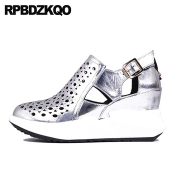 Wedge Pumps High Heels Metallic Sandals Red Patent Platform Shoes Women Genuine Leather Casual Creepers Harajuku Silver Round