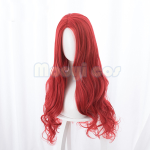 Image 3 - Aquaman Mera פאת קוספליי האמריקאי אנימה סרט 85 cm ארוך מתולתל גלי חום עמיד סינטטי שיער נשים תלבושות המפלגה פאה אדום