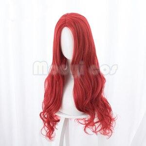 Image 3 - Aquaman Mera Cosplay Perücke Amerikanischen Anime Film 85 cm Langes Lockiges Wavy Hitze Beständig Synthetische Haar Frauen Kostüm Party Perücke rot