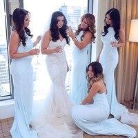 Chiffon Long Cheap Mermaid Bridesmaid Dresses 2016 New Sexy Sleeveless Gown Handmade High Quality Graceful Summer